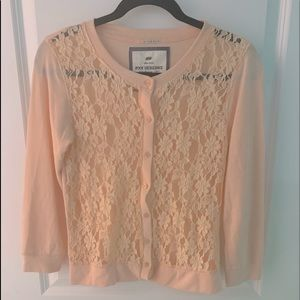 NWOT, Poof Excellence, Lace Front Cardigan